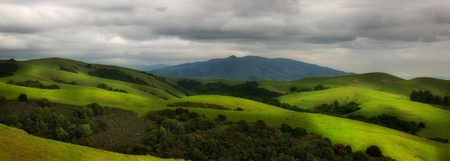 rolling landscapes: Panorama of beautiful hilly pasture in California in spring Stock Photo