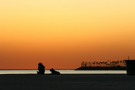 Silhouetted man and dog sitting on beach at sunset in Los Angeles, California photo