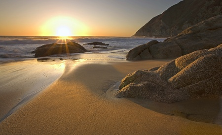Beautiful sunset on beach near Pacifica, California photo