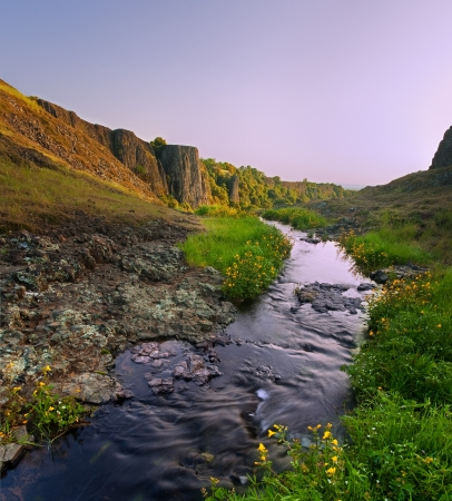Stream which feeds phantom falls, North Table Mountain Ecological Preserve, near Chico California, at sunset photo