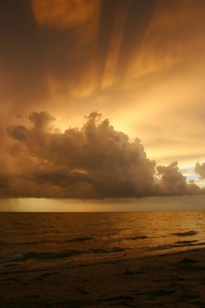 Beautiful tropical sunset from Sanibel Island, Florida, over the Gulf of Mexico Stock Photo