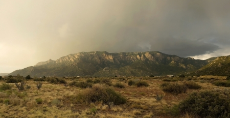 Beautiful photo of the Sandia Mountains of Albuquerque, New Mexico, during storm
