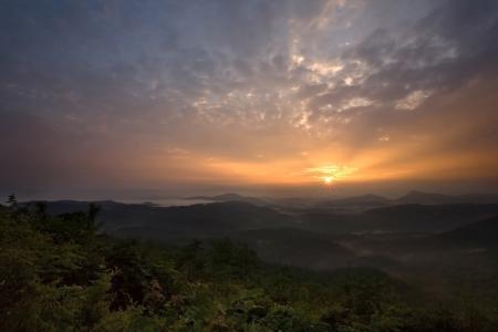 early fog: Sunrise over Appalachian Mountains