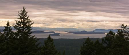 A beautiful panorama of the San Juan Islands, in northwest Washington, on an overcast afternoon   Canada