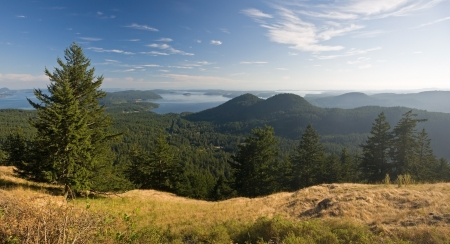 Panorama from atop Mount Constitution on Orcas Island in the San Juan Islands of Washington photo