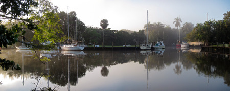 ft lauderdale: Panorama of quiet morning on North Fork of Fort Lauderdales New River, Florida Stock Photo