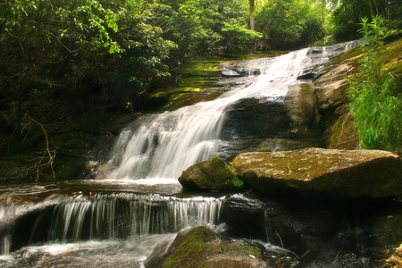 Beautiful waterfall nestled in the lush forests of the Appalachian Mountains of North Carolina