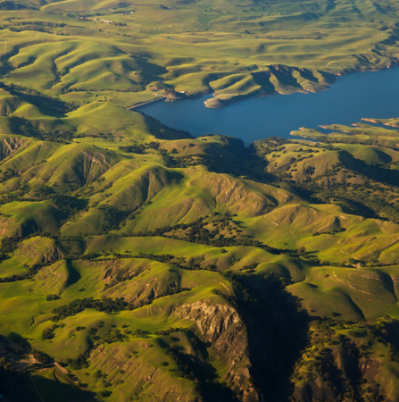 hillsides: Beautiful verdant pastoral hillsides of California, as seen from above