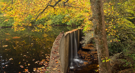 appalachian: A small lake in the Appalachian Mountains of North Carolina with manmade dam, in beautiful autumn colors
