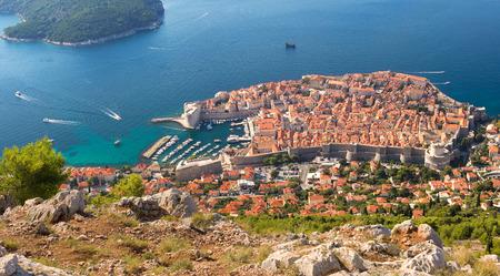adriatic sea: The beautiful ancient town of Dubrovnik, Croatia, shimmers like a jewel along the Adriatic Sea on the Dalamatian Coast