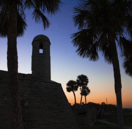 Castillo De San Marcos, the oldest fort in the United States, seen at sunset in St Augustine, Florida
