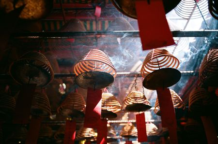 godliness: Incense coils that is found in chinese temple at many asia countries, pictures are taken in Hong Kong Stock Photo