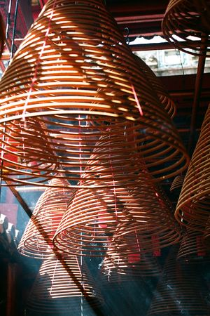 Incense coils that is found in chinese temple at many asia countries, pictures are taken in Hong Kong photo
