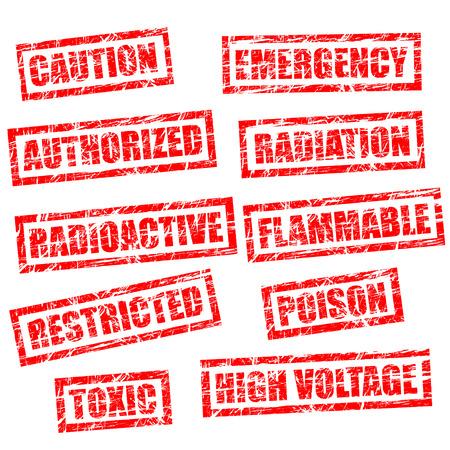 radioactive sign: sellos en estilo grunge, el aspecto hab�an sido utilizados en el entorno de dura.
