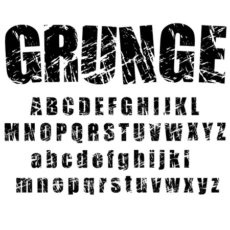 grunge: A set of personalised grunge alphabets to use. vectors, isolated on white. Completed with set 2 of number and symbol