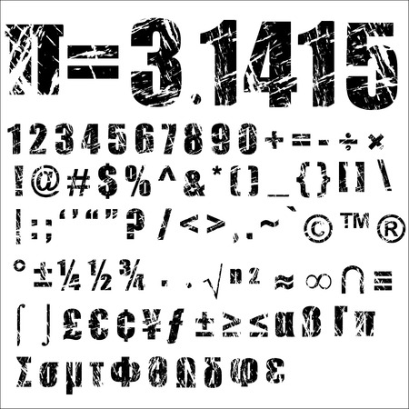 completed: A set of personalised grunge numbers and symbols to use. vectors, isolated on white. Completed with another alphabets set.