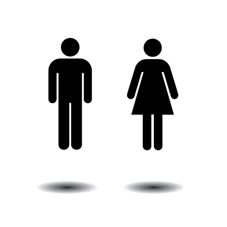restroom: man and woman symbols for toilets, washrooms, restroom, lavatory. isolated on white background Иллюстрация