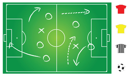 soccer referee: soccer or football field layout for strategy explanation