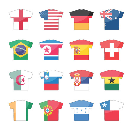32 countries flags icons in jersey design, for international games. set 2 of 2.  Vector