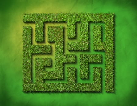 hedge: green grass maze, on green background. Stock Photo