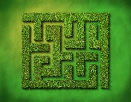 doolhof: groen gras doolhof, op groene achtergrond.