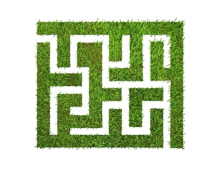 hedges: green grass maze, on green background. Stock Photo