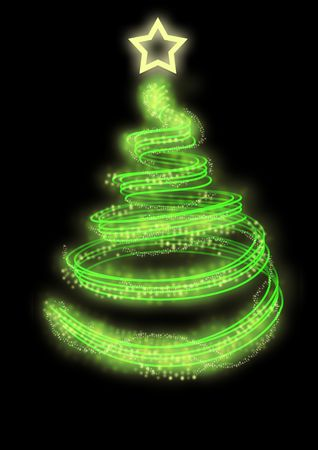 merge: abstract christmas tree, merge into a black background. Stock Photo