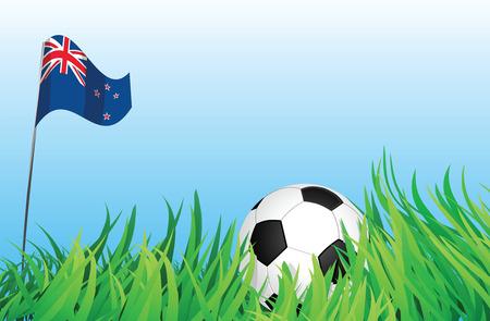 new zealand flag: Un illustrazioni di pallone da calcio, con una bandiera neozelandese agitando a sfondo.