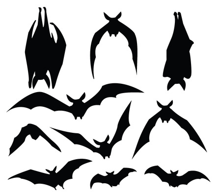 usage: bat silhouette of various movement, for design usage.