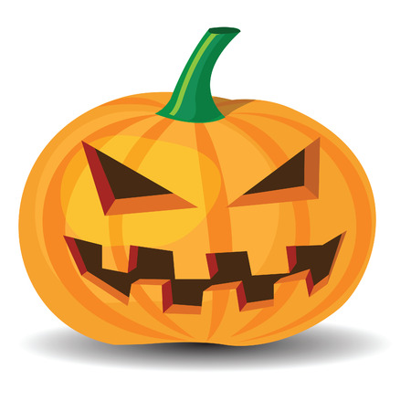 halloween pumpkin with evil grinning