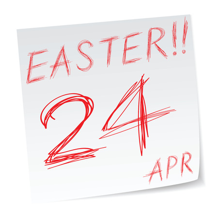 easter sunday: a message with easter sunday date of calendar Illustration