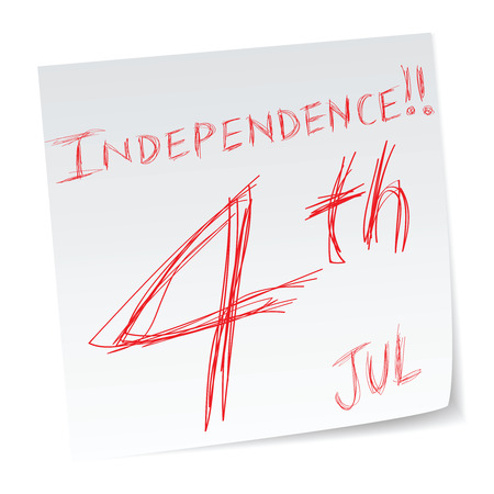 4th of July, Independence day, a message with a date of calendar. Vector