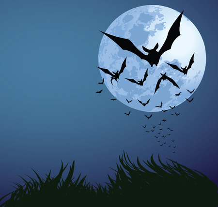 over the moon: illustrations of halloween night with bats flying over blue moon Illustration