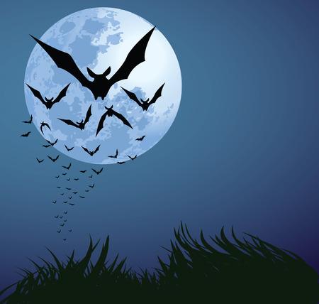 murcielago: ilustraciones de la noche de halloween con murci�lagos volando sobre la Luna Azul