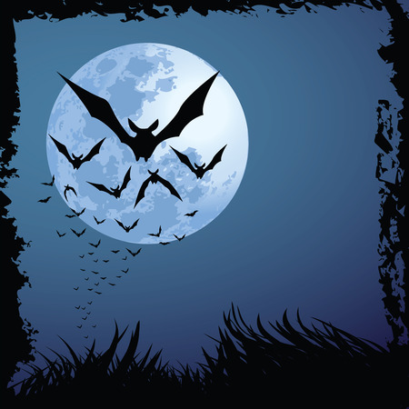 vampire bats: illustrations of halloween night with bats flying over blue moon, with grunge style.