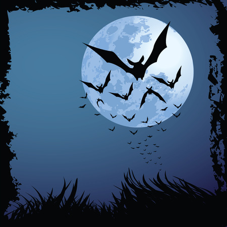 illustrations of halloween night with bats flying over blue moon, with grunge style. Stock Vector - 7725231
