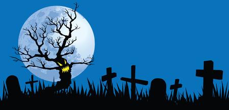 tombes: illustrations de nuit de Halloween