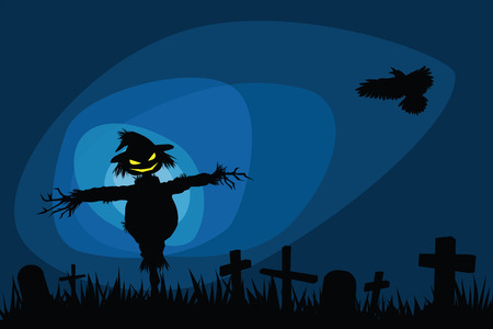 halloween night illustrations with creepy scarecrow in graveyard. Vector