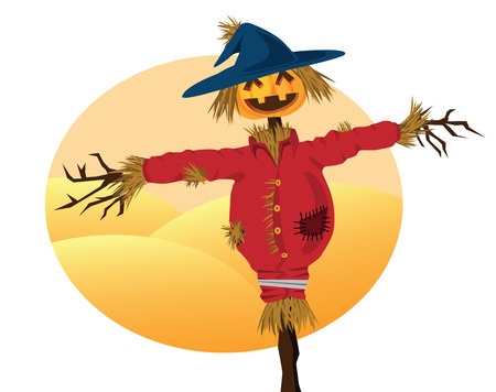 scarecrow cartoons for background related to harvest, agriculture, autumn and thanksgiving themed. Vector
