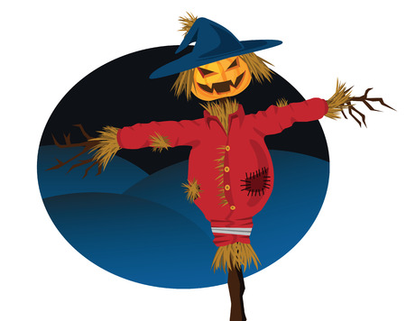 grinning: halloween scarecrow illustration, with evil grin.