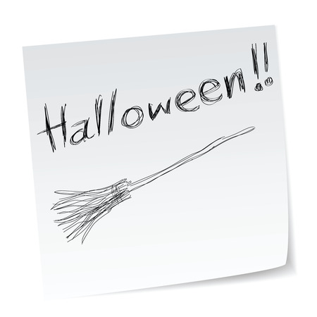 witchery: a note with hand-drawn halloween theme message - 7 of series.