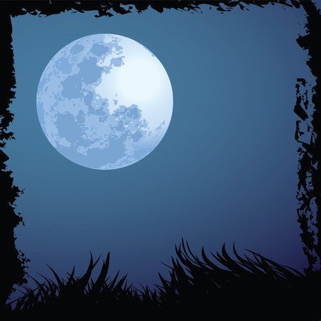 illustrations of halloween night with blue moon Stock Illustration - 7927715