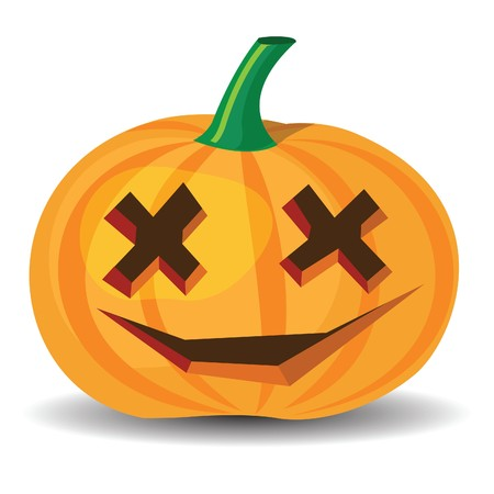 halloween pumpkin with confused grinning
