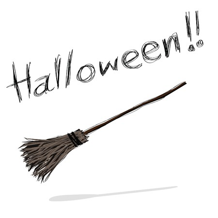 broomstick: hand-drawn halloween theme message - 7 of series.