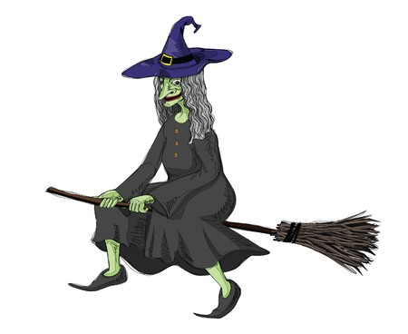 illustration of witch, riding on a broomstick.