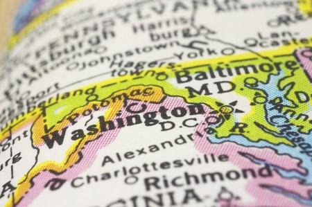 Washington DC close up en el mapa, profundidad de campo