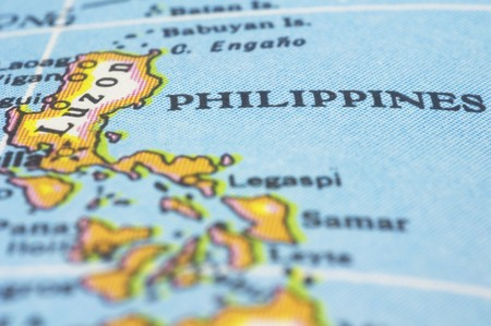 philippines map: Philippines marker on map, asia countries.