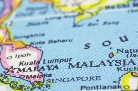 southeast asia: Malaysia close up on map, southeast asia countries.