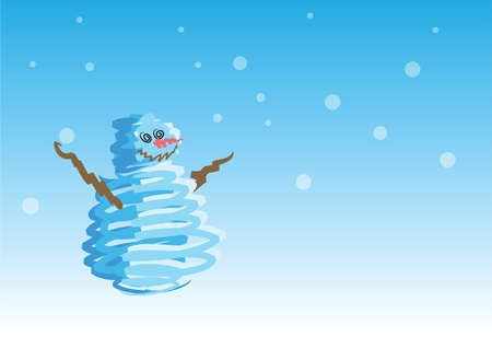 snowman on snowing background, holidays greeting. 1 of the 6 same styled christmas cards i draw, please check the rest in my profile.  Vector