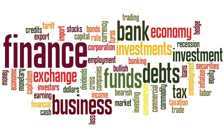 business words: finance background, with financial keywords random layout Illustration